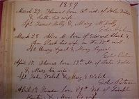 Baptismal Record of Thomas Field, Son of Peter Field and Mary Welch