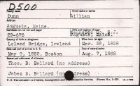 Immigration INS Index Card (William Dunn)
