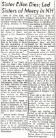 Obituary (Sister M. Ellen Field) (Manchester Union Leader, January 10, 1976)