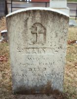Headstone of Mary (Walsh) Field at St. Denis Church in Whitefield, ME